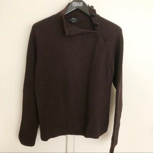 Gucci Ribbed Wool Sweater+Side Collar Button